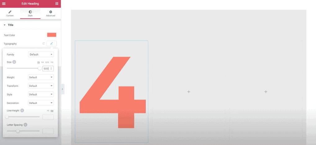 Elementor editor number addition