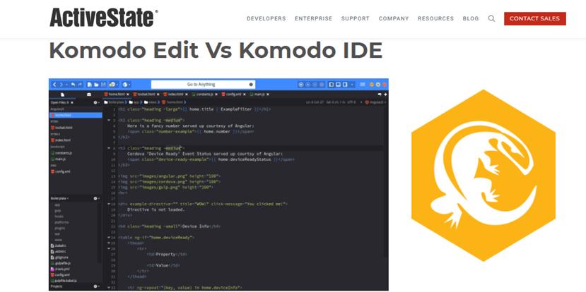 Komodo Edit landing page