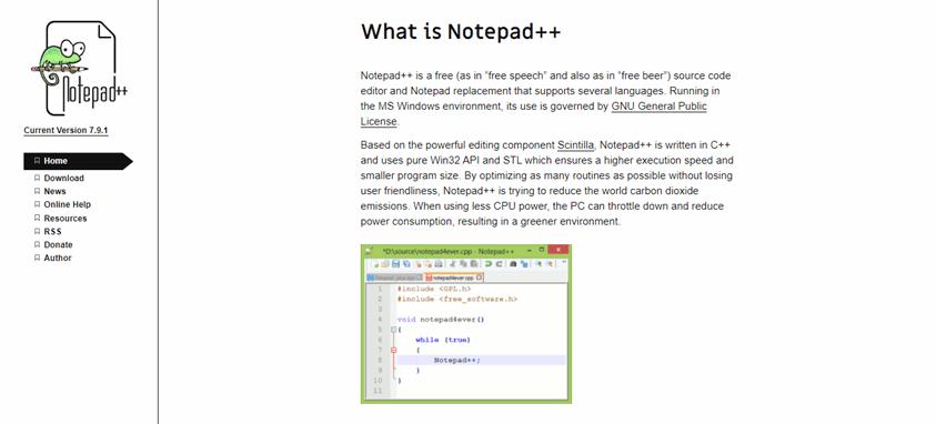 Notepad++ landing page
