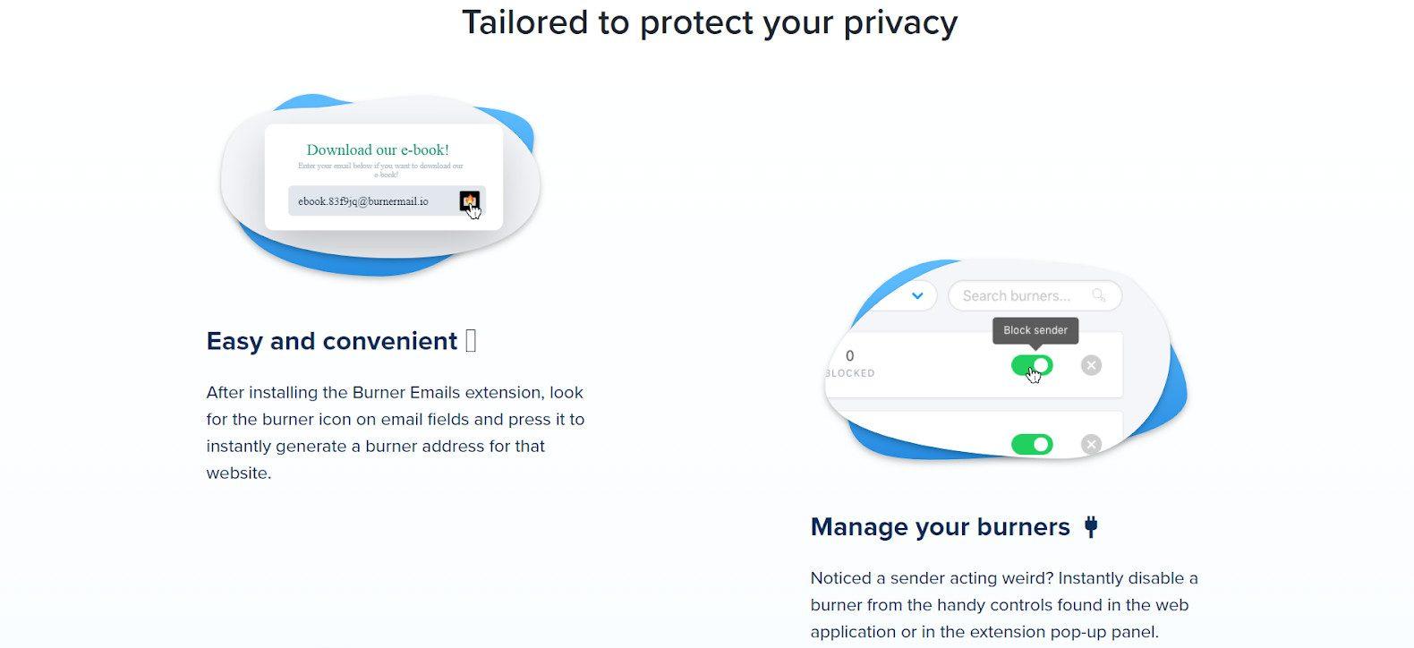 Burner mail block feature