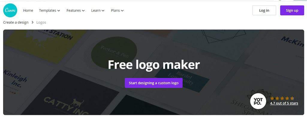 Canva Logo Maker homepage