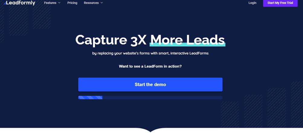 Leadformly landing page