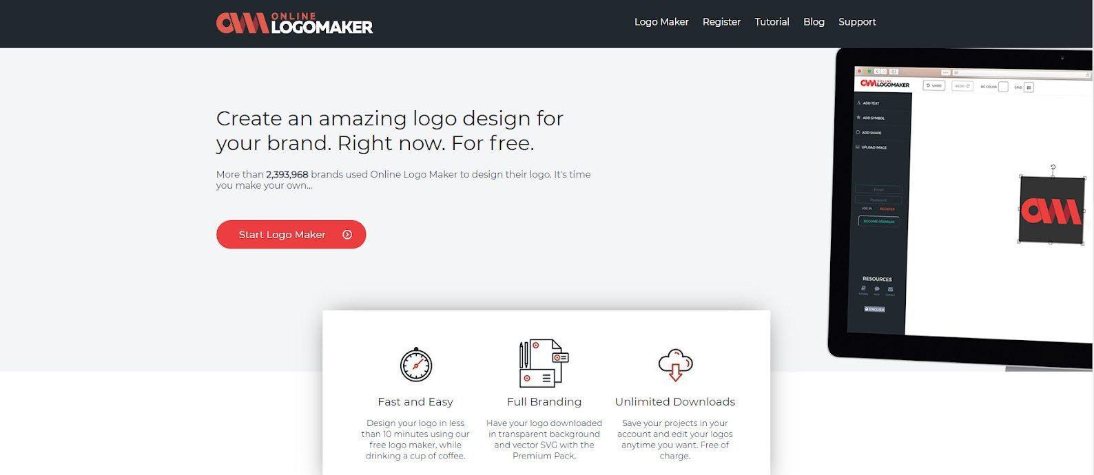 Online Logo Maker homepage
