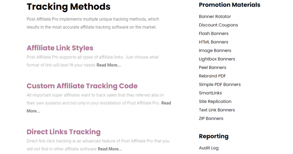 Post Affiliate Pro tracking methods feature