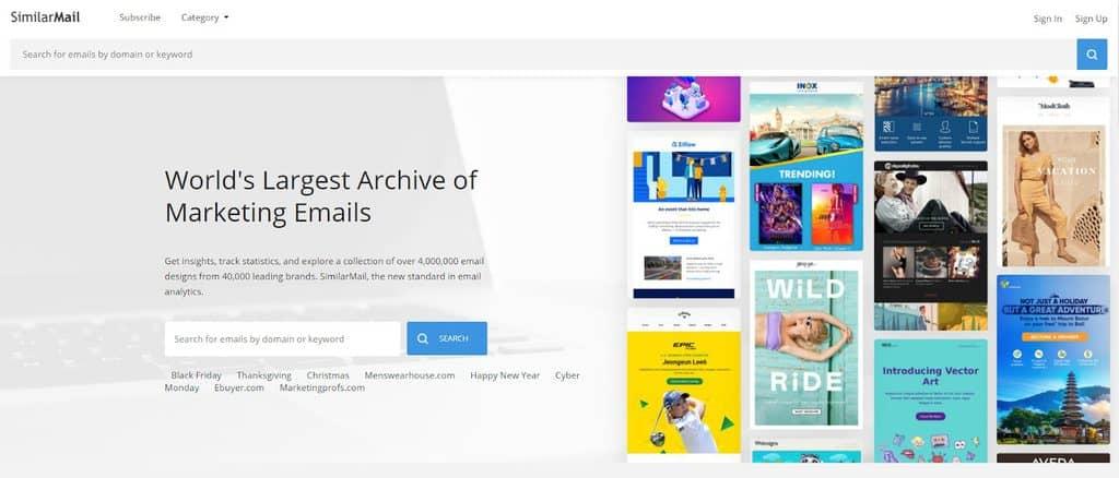 SimilarMail landing page