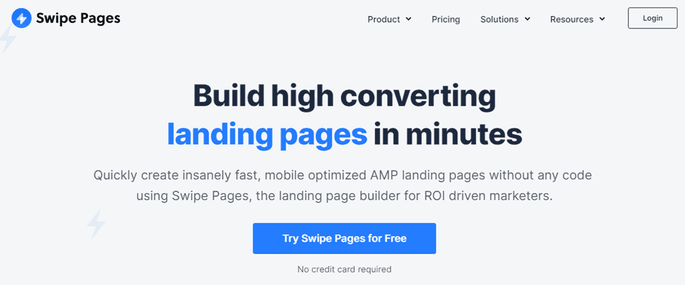 Swipe pages landing page
