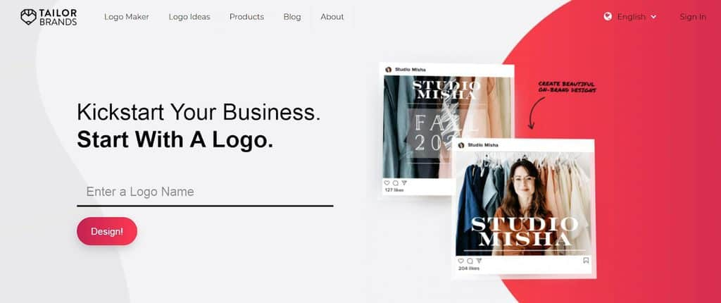 Tailor Brands homepage
