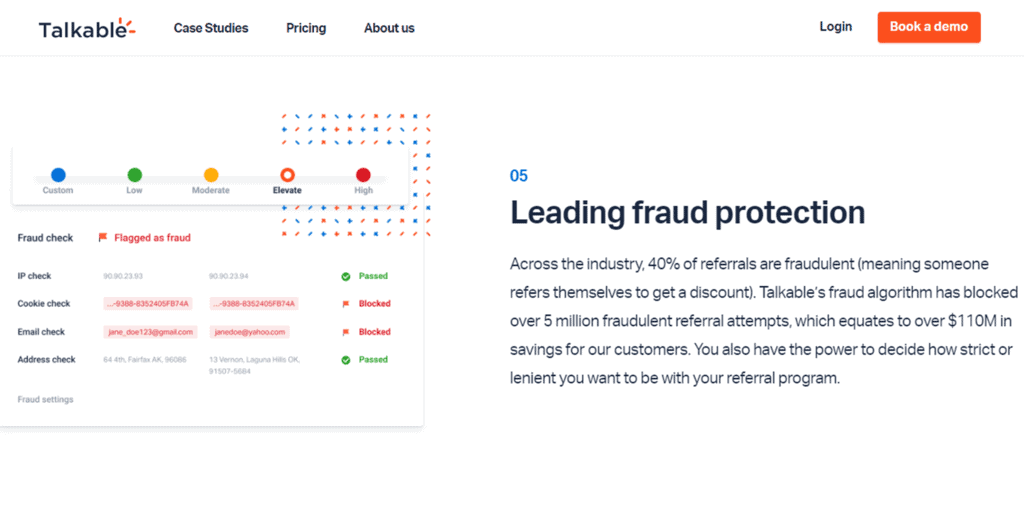Talkable anti fraud feature