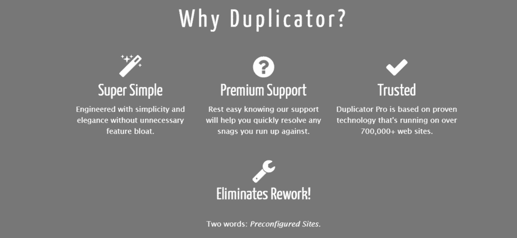 Duplicator pro features