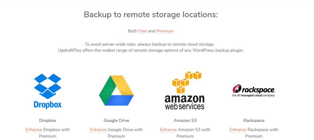 UpdraftPlus storage feature