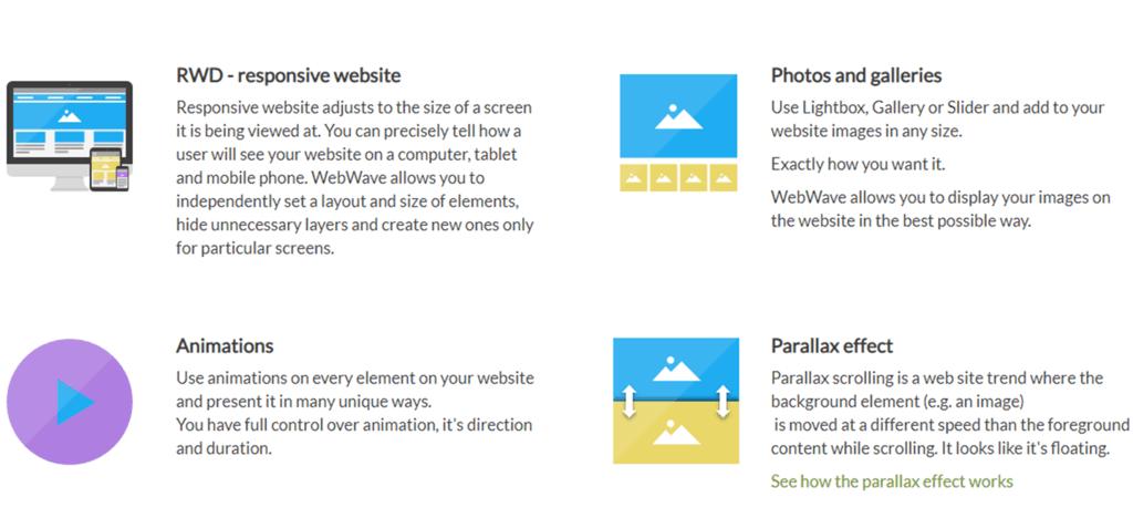 WebWave parallax and photos