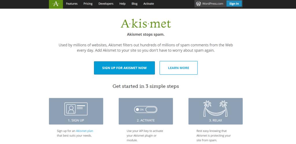 Akismet homepage