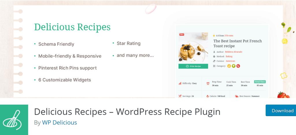 Delicious Recipes banner