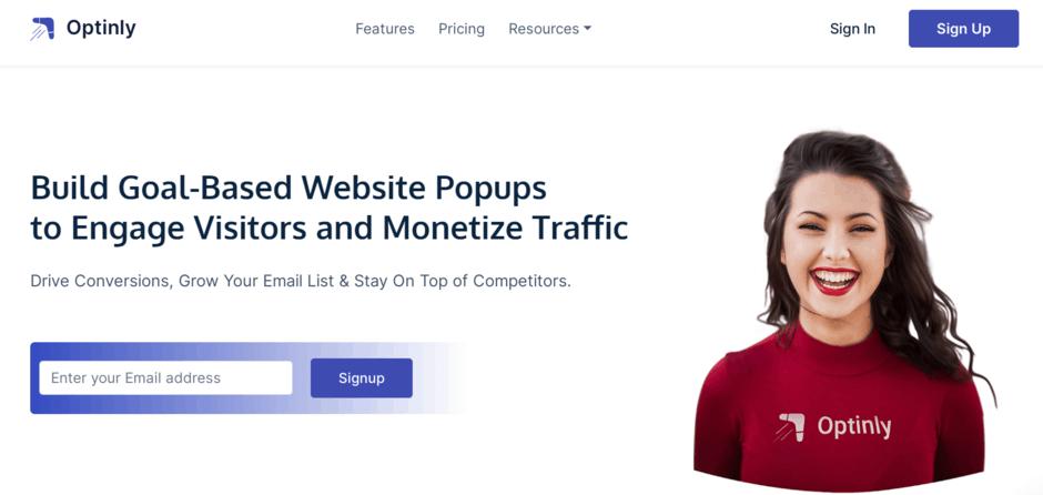 Optinly homepage