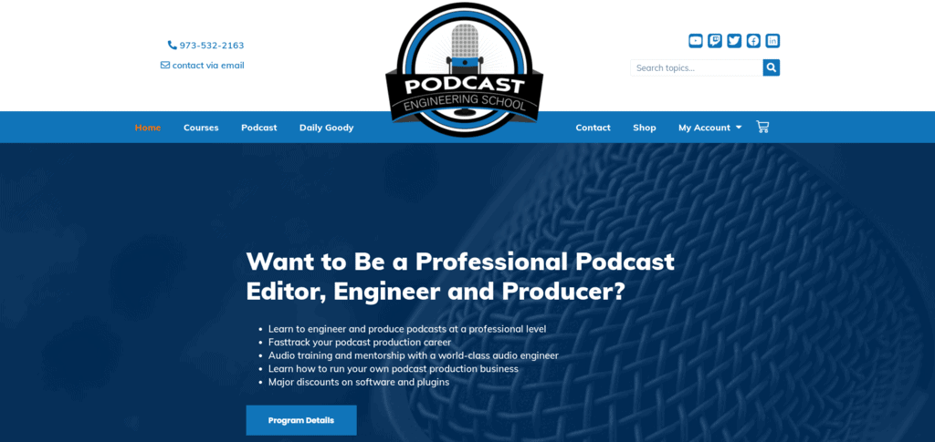 Podcast Engineer School homepage