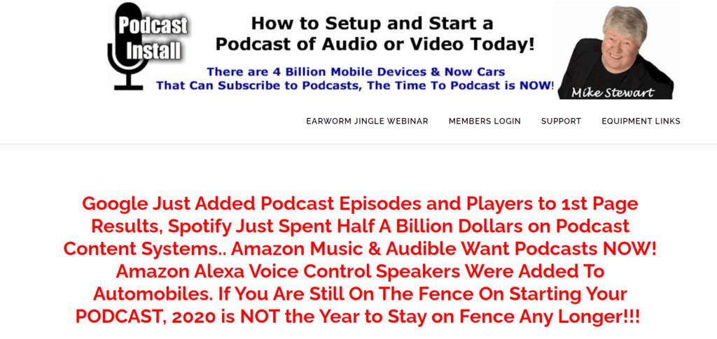 Podcast Install website