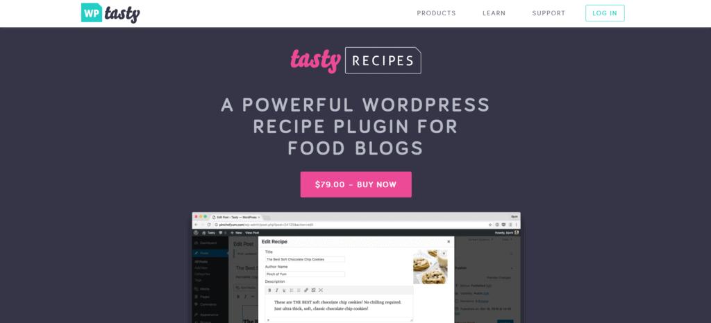 Tasty Recipes homepage
