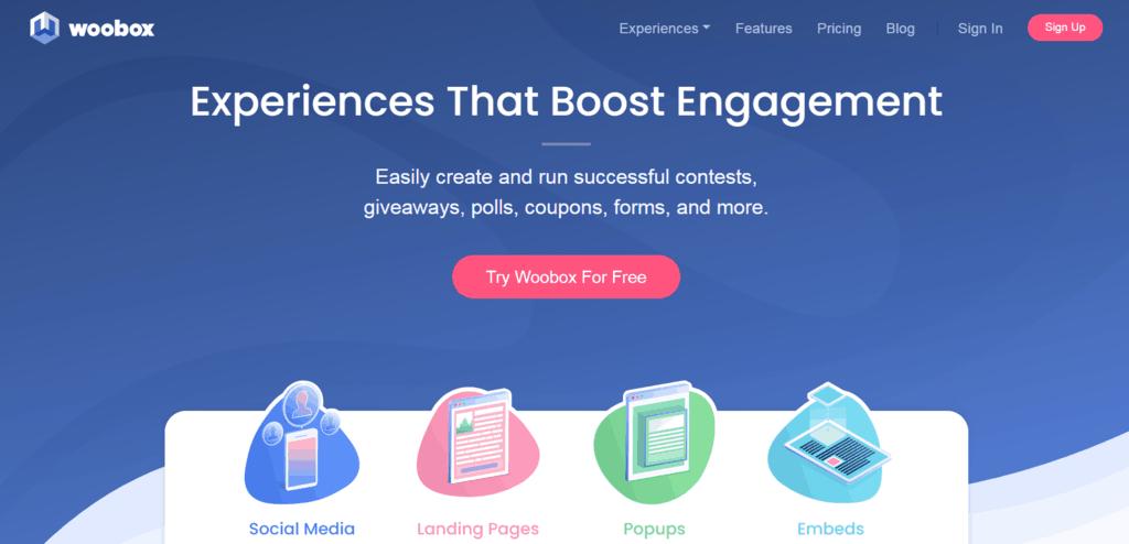 Woobox homepage