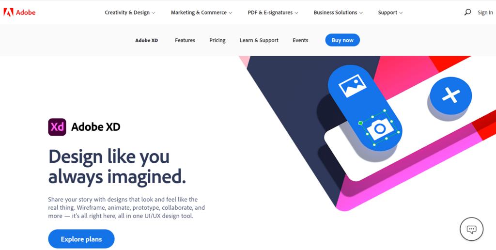 Adobe XD homepage