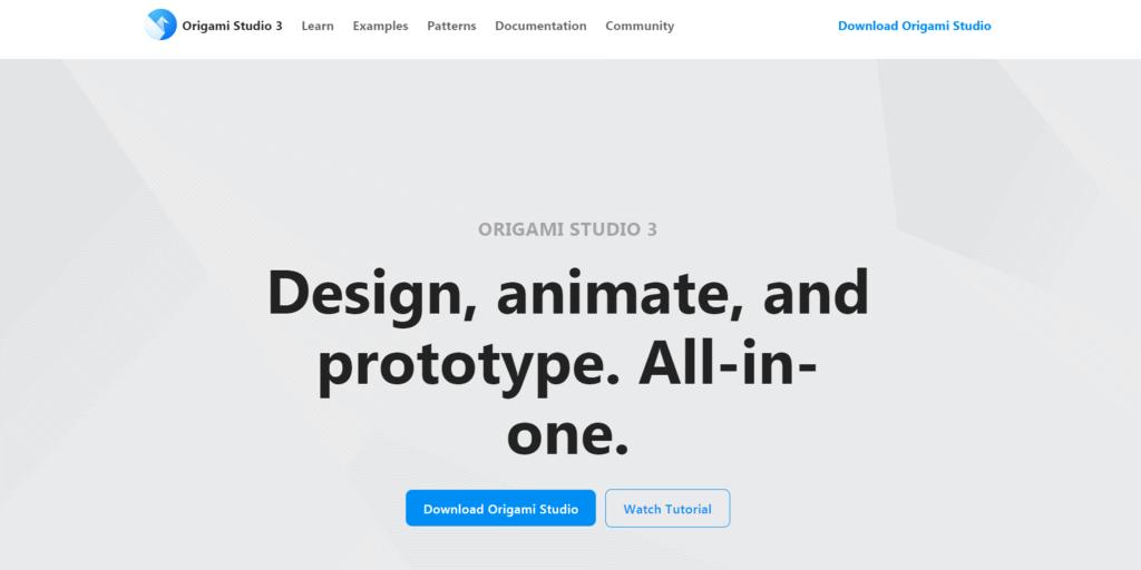 Origami Studio homepage