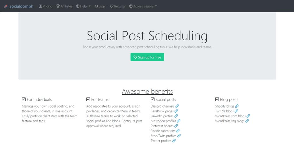 SocialOoomph homepage