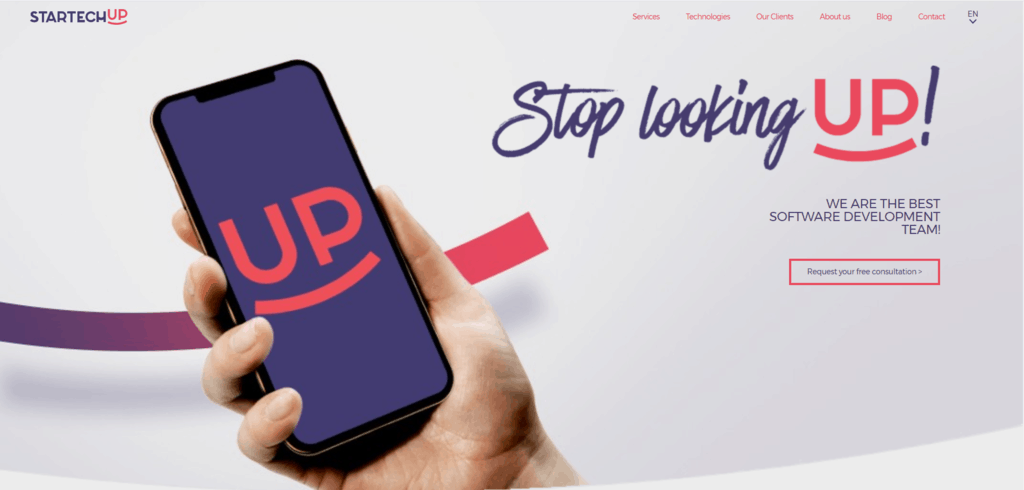 StartTechUp homepage