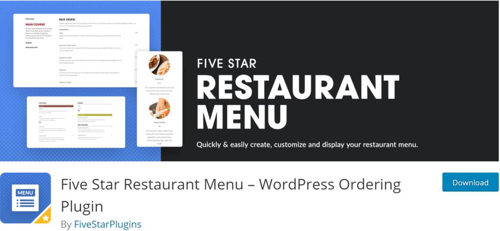 Fve Star Restaurant Menu banner