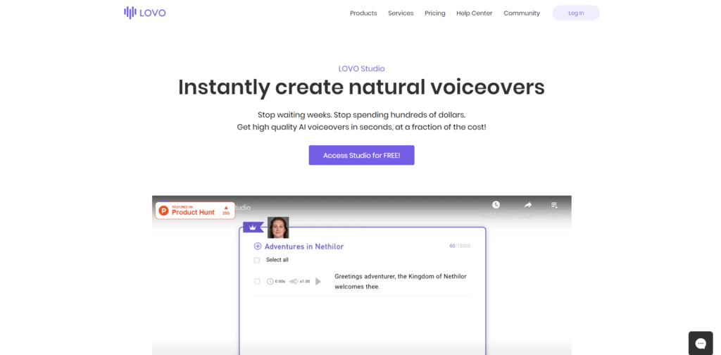Lovo homepage