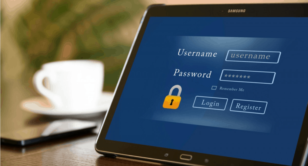 Password on tablet