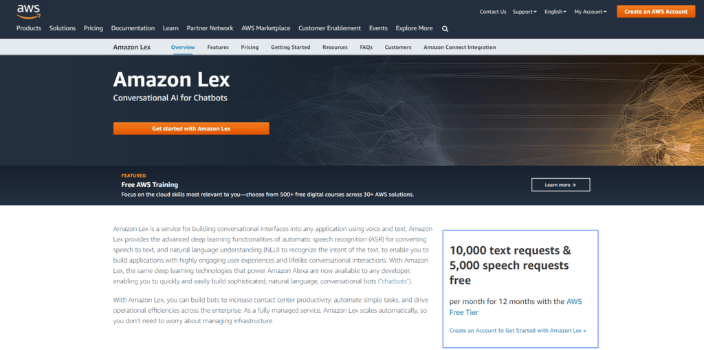 Amazon Lex homepage