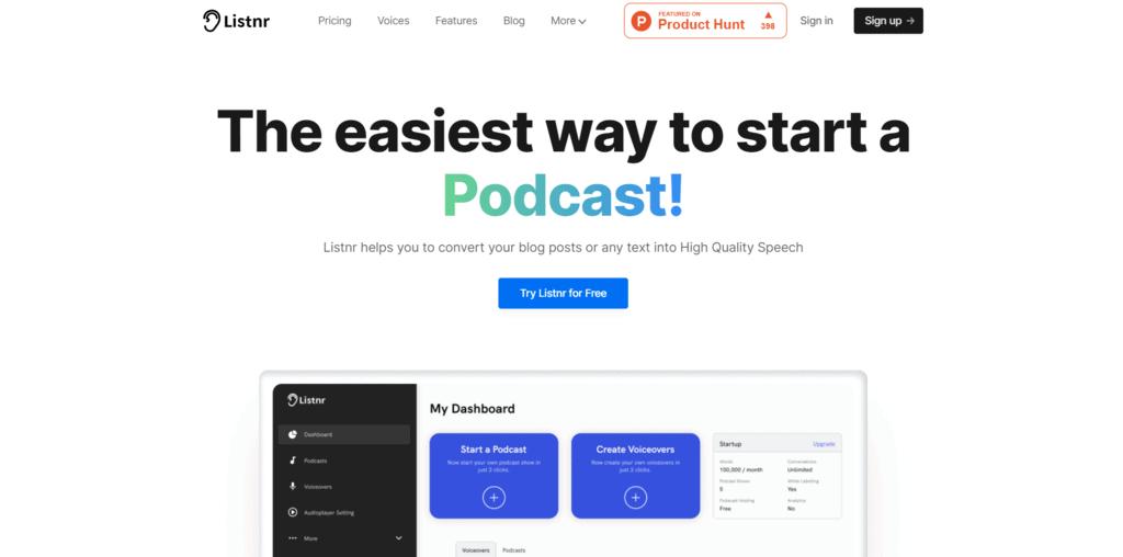Listenr homepage