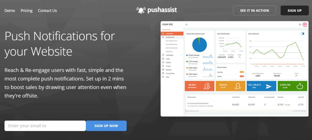 PushAssist homepage