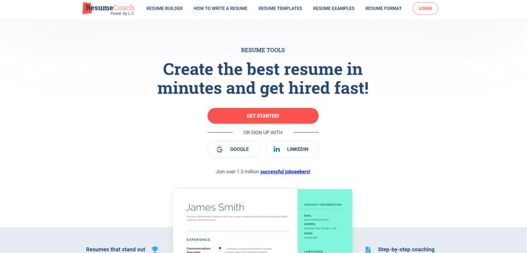 ResumeCoach homepage