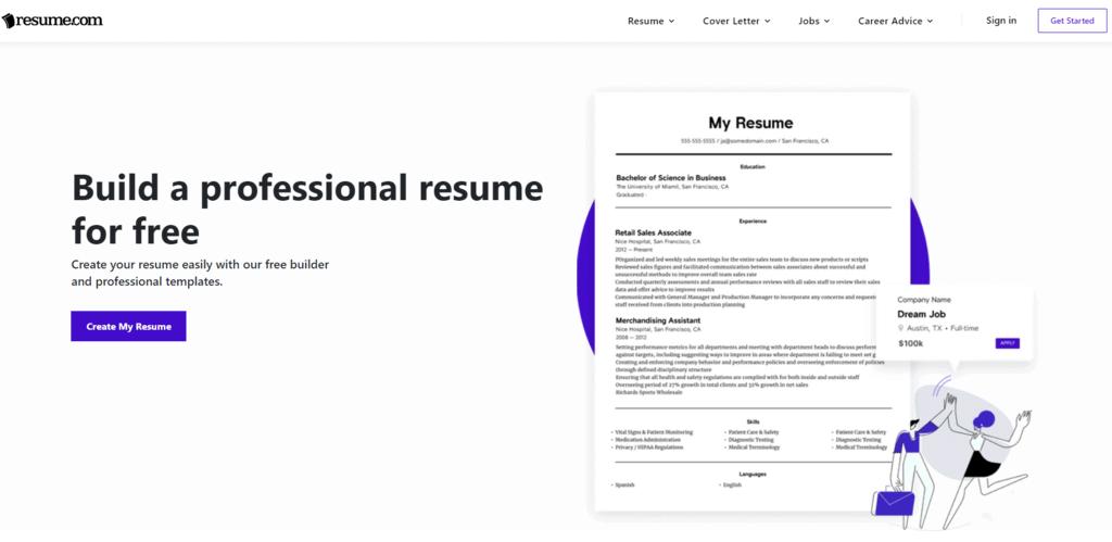 Resumecom homepage