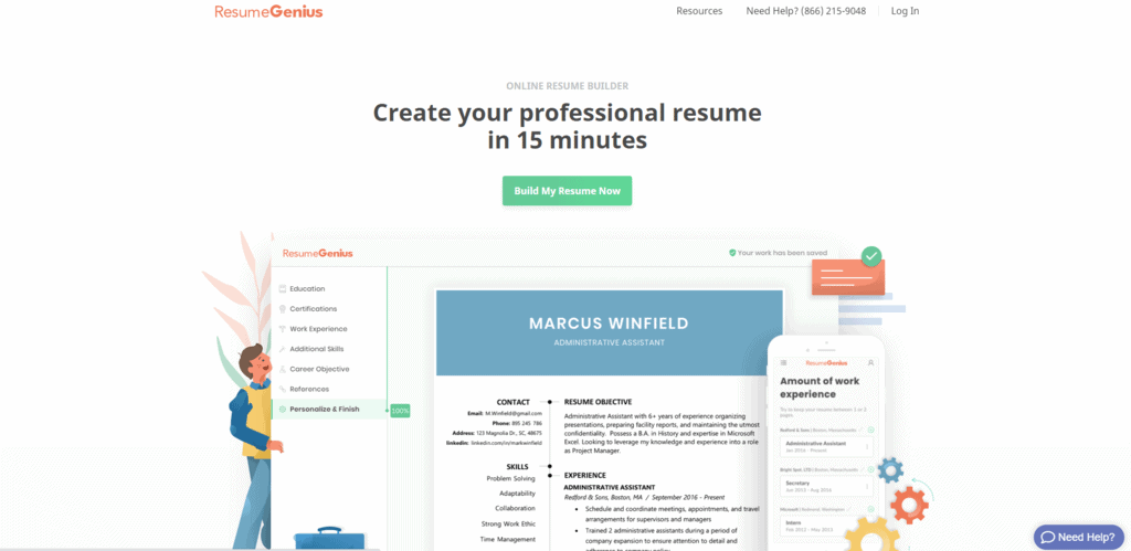 ResumeGenius homepage