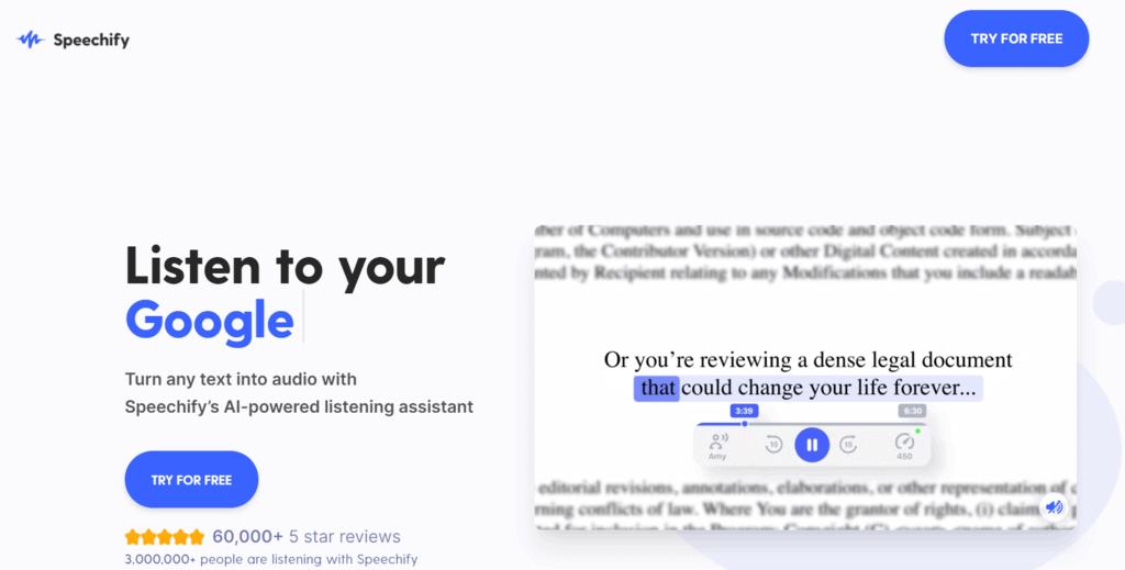 Speechify homepage