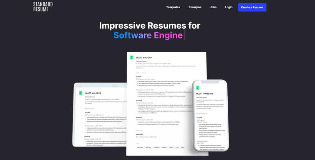 Standard Resume homepage