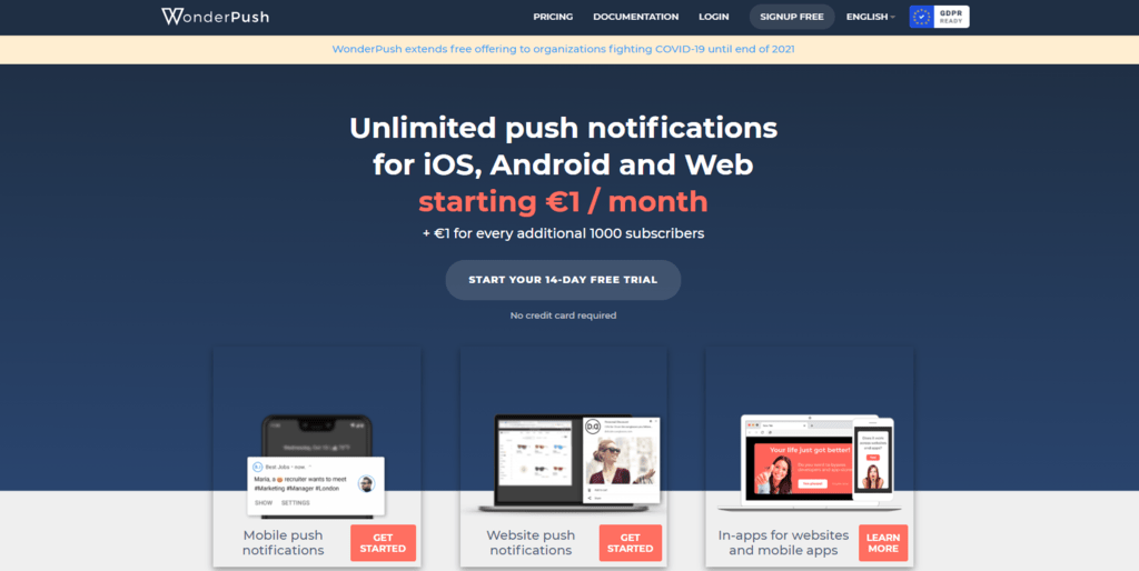 WonderPush homepage