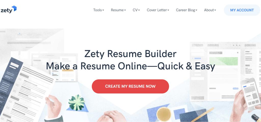 Zety homepage
