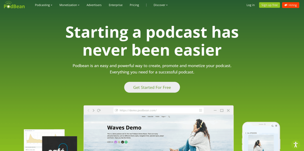 Podbean homepage