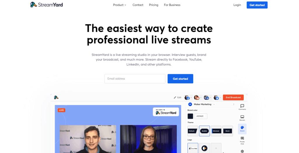 StreamYard homepage